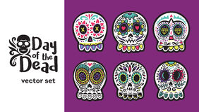 Day of the Dead Skulls, Colorful Set Royalty Free Stock Image