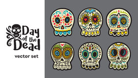 Day of the Dead Skulls, Colorful Set Royalty Free Stock Photography