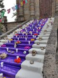 Day of the Dead stairs. Day of the dead celebration. Panteon de belen Guadalajara royalty free stock photo