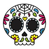 Day of the dead sugar skull colorful floral Stock Image