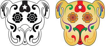 Day of the Dead Sugar Skull Dog. Sugar Skull Dat.  Also available in Vector with clean clipping paths for vinyl Stock Image