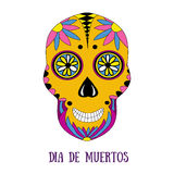 Day of The Dead sugar skull with floral ornament Stock Images