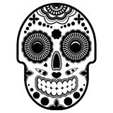 Day of the dead sugar skull with ornament. Bright ornament.Thick outline. Royalty Free Stock Images