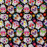 Day of the Dead Sugar Skull Seamless Vector Background Stock Photography