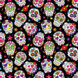 Day of the Dead Sugar Skull Seamless Vector Background Stock Photos