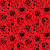 Day of the Dead Sugar Skull Seamless Vector Background Stock Photo
