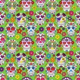 Day of the Dead Sugar Skull Seamless Vector Background Stock Images