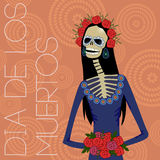 Day of dead sugar skull woman Royalty Free Stock Images