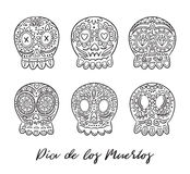 Day of the dead sugar skulls vector set. Mexican holidays. Day of the Dead skulls. Black and white hand drawn set. Vector illustratration. Mexican day of the Stock Photos