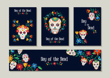 Day of the dead template set for cards or label Stock Photo