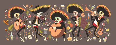 Day Of Dead Traditional Mexican Halloween Dia De Los Muertos Holiday. Party Decoration Banner Invitation Flat Vector Illustration stock illustration