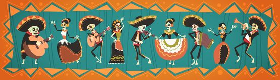 Day Of Dead Traditional Mexican Halloween Dia De Los Muertos Holiday. Party Decoration Banner Invitation Flat Vector Illustration royalty free illustration