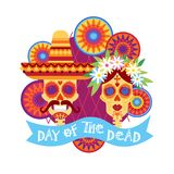 Day Of Dead Traditional Mexican Halloween Dia De Los Muertos Holiday Party. Decoration Banner Invitation Flat Vector Illustration vector illustration