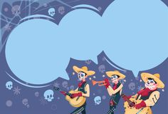 Day Of Dead Traditional Mexican Halloween Holiday Party Decoration Banner Invitation Group Of Skeleton Play Guitar. Flat Vector Illustration Stock Photo