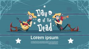 Day Of Dead Traditional Mexican Halloween Holiday Party Decoration Banner Invitation Skeleton Play Guitar Royalty Free Stock Photo