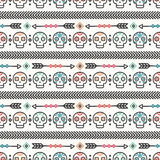 Day of the Dead. Tribal hand drawn line mexican ethnic seamless pattern. Border. Wrapping paper. Print. Doodles. Tiling. Handmade native vector illustration Royalty Free Stock Photos