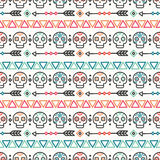 Day of the Dead. Tribal hand drawn line mexican ethnic seamless pattern. Border. Wrapping paper. Print. Doodles. Tiling. Handmade native vector illustration Royalty Free Stock Image