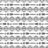 Day of the Dead. Tribal hand drawn line mexican ethnic seamless pattern. Border. Wrapping paper. Print. Doodles. Tiling. Handmade native vector illustration Stock Image