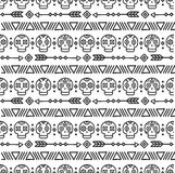 Day of the Dead. Tribal hand drawn line mexican ethnic seamless pattern. Border. Wrapping paper. Print. Doodles. Tiling. Handmade native vector illustration Royalty Free Stock Photography