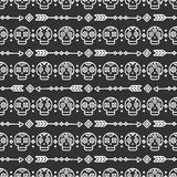 Day of the Dead. Tribal hand drawn line mexican ethnic seamless pattern. Border. Wrapping paper. Print. Doodles. Tiling. Handmade native vector illustration Royalty Free Stock Images
