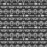 Day of the Dead. Tribal hand drawn line mexican ethnic seamless pattern. Border. Wrapping paper. Print. Doodles. Tiling. Handmade native vector illustration Stock Images