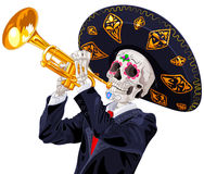 Day of the Dead Trumpet Player. Dea de los muertos stock illustration