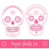 Day of the dead vector illustration set. Day of the dead, helloween, mexican sugar skull vector illustration set. Line art design elements Royalty Free Stock Photos