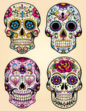 Day of the dead vector illustration set. Vector set of day of the dead skulls stock illustration