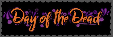 Day of the Dead vector lettering illustration Royalty Free Stock Image