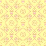 Day of the dead vector seamless pattern. Day of the dead mexican sugar skull vector seamless background. Line art seamless wallpaper. Great for kids textile Royalty Free Stock Photo