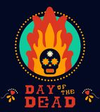 Day of the dead vintage mexico sugar skull in fire. Mexican Day of the Dead traditional holiday illustration. Retro style sugar skull burning in fire flames with Royalty Free Stock Photos