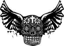Day of the Dead Winged Skull Stock Images