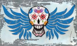 Day of the Dead Winged Sugar Skull Vector. Bright Sugar Skull vector design with blue and grey grunge background Stock Photo