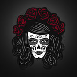 Day of The Dead Woman Illustration with Sugar Skull Face. Paint and roses Stock Image
