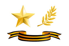 Day of the defender. Vector. Design Element on white background (Isolated on white): Gold star, laurel branch and George Ribbon Stock Images