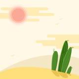 Day desert landscape with cacti under the sun flat vector illustration. Hot Sahara desert under faded sky Royalty Free Stock Photo