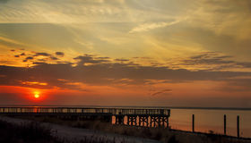 Day Is Done. Sun setting over the Great South Bay Royalty Free Stock Image