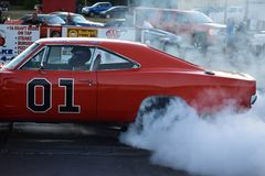 General Lee replica race car royalty free stock images