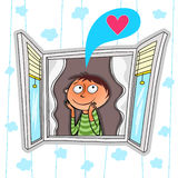 Day dreaming. Illustration of smiling boy looking through the window and daydreaming Royalty Free Stock Photo