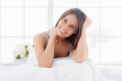 Day dreaming in bed. Royalty Free Stock Photos
