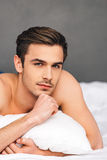 Day dreaming in bed. Royalty Free Stock Photo