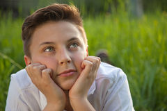 Day dreaming boy Royalty Free Stock Photo