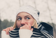 Day dreaming trendy blonde. Stock Images