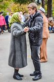 Day of an elderly person in Russia stock images