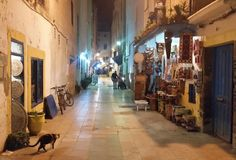 Typical street in Medina old town in Essaouira, Morocco stock photos