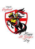 A Day For England Happy St George Day Retro Poster Stock Images