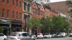 Day establishing shot businesses on F Street in Washington stock video