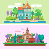 Day and evening summer garden landscape. Background for game. Vector flat illustrations Stock Images