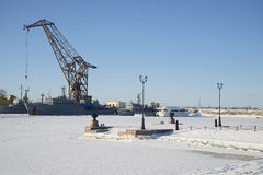 Day of february in the port city of Kronstadt Stock Photos