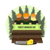 Day of forest workers . Colored card with trees. Vector Illustration